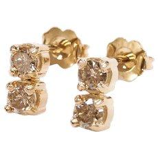 Diamond .68 ctw Double Drop Stud Earrings 14k Gold