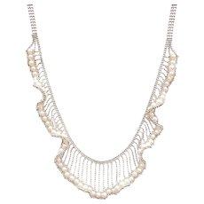 Dressy Cultured Pearl Fancy Bib Necklace 14k White Gold