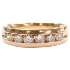 Gents Diamond .96 ctw Wedding Band Ring 14k Gold ~ Men's