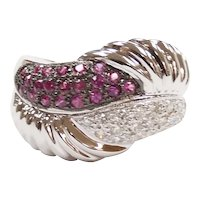 Ruby and Diamond .63 ctw Bypass Band Ring 18k White Gold