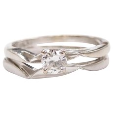 Diamond .23 Carat Solitaire Engagement Ring with Matching Wedding Band 14k White Gold