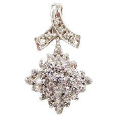 Vintage Diamond 1.21 ctw Cluster Pendant 14k White Gold