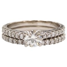 Diamond 1.00 ctw Engagement Ring and Wedding Band Ring Set Palladium