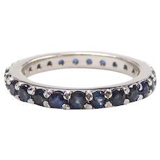 Sapphire 1.56 ctw Eternity Band Ring 14k White Gold