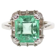 GIA Certified Emerald 3.73 Carat and Diamond .41 ctw (4.14 ctw) Halo Ring 14k White Gold