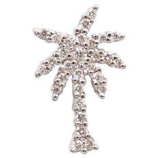 Designer Diamond and Ruby .22 ctw Palm Tree Pendant / Charm 18k White Gold Roberto Coin Tiny Treasures