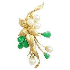 Vintage Retro Cultured Pearl and Jade Floral Spray Pin / Brooch 14k Gold
