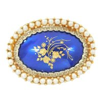 Vintage Cobalt Blue Enamel and Seed Pearl Floral Pin / Brooch 18k Gold Two-Tone