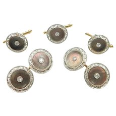 Art Deco Mother of Pearl and Diamond .42 ctw Cufflinks and Button Studs Set 14k Gold and Platinum