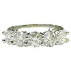 Diamond 1.85 ctw Five Stone Anniversary Band Ring 14k White Gold