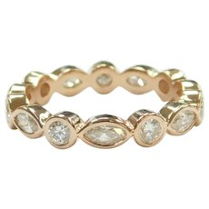 Diamond .98 ctw Marquise and Round Alternating Eternity Band Ring 14k Rose Gold