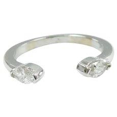 Diamond .32 ctw Horseshoe Ring 14k White Gold