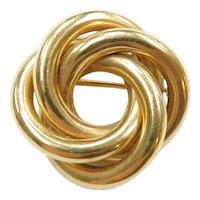 Retro Designer Love Knot Circle Pin / Brooch 14k Gold Tiffany & Co
