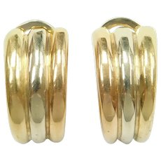 Vintage Designer Earrings 18k Gold Tri-Color Carlo Weingrill