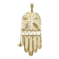 Vintage Big Filigree Hamsa Hand Pendant 14k Gold