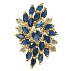 Sapphire and Diamond 2.35 ctw Waterfall Cluster Ring 14k Gold