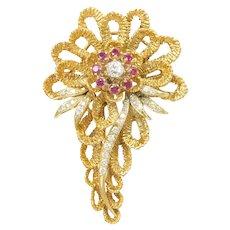 Big Vintage Retro Ruby and Diamond 1.285 ctw Flower PIn / Brooch 14k Gold