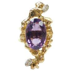 Vintage Amethyst and Diamond 7.70 ctw Custom Made Ring 14k Gold