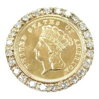 1878 Indian Princess Head Three Dollar $3 90% Gold US Coin in Diamond .72 ctw Bezel Pendant / Pin / Brooch 14k White Gold