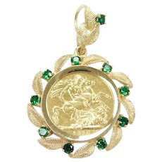 Green Spinel 1.40 ctw Leaf Bezel Pendant with 1912 Great Britain Sovereign Coin 14k and 22k Gold