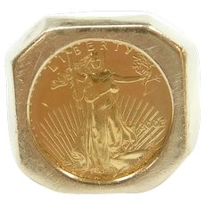 2002 $5 22k American Eagle Coin in Geometric Bezel Ring 14k Gold