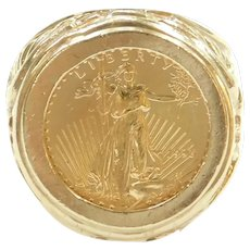 1996 $5 22k Gold American Eagle Coin in Eagle Ring 14k Gold