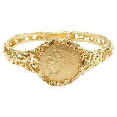 1912 $5 90% Gold Indian Head Coin in Bracelet 14k Gold