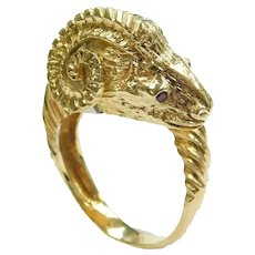 Designer Ruby .06 ctw Ram Head Bypass Ring 18k Gold and Sterling Silver Two-Tone Zolotas