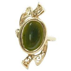 Jade 2.46 Carat Filigree Bypass Ring 14k Gold