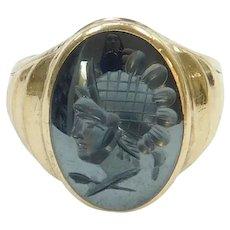 Vintage Hematite Roman Soldier Intaglio Ring 10k Gold