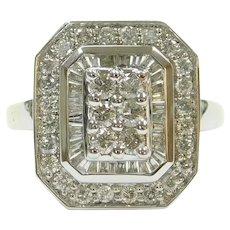 Diamond .92 ctw Rectangular Halo Step Fashion Ring 14k White Gold