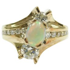 Modernist Opal and Diamond 1.47 ctw Custom Made Ring 14k Gold
