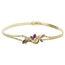 Vintage Ruby and Diamond 1.21 ctw Bracelet 14k Gold