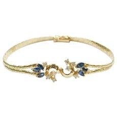 Sapphire and Diamond 1.08 ctw Bracelet 14k Gold