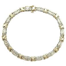 Diamond 1.12 ctw XO Hug and Kiss Bracelet 10k Gold Two-Tone