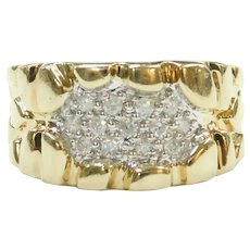 Diamond .25 ctw Nugget Ring 10k Gold Two-Tone
