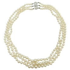 Vintage Cultured Pearl Triple Strand Necklace 14k White Gold
