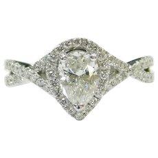 GIA Certified Diamond 1.01 Carat (1.57 ctw) Halo Engagement Ring 14k White Gold 143