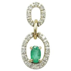 Emerald and Diamond .26 ctw Double Oval Pendant 10k Gold Two-Tone