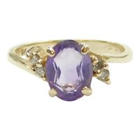 Amethyst and Diamond 1.28 ctw Bypass Ring 14k Gold