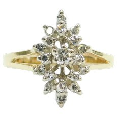 Diamond .29 ctw Navette Cluster Ring 14k Gold Two-Tone