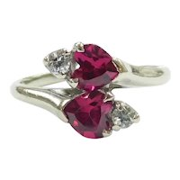 Vintage Lab Created Ruby and Spinel 1.28 ctw Double Heart Bypass Ring 10k White Gold