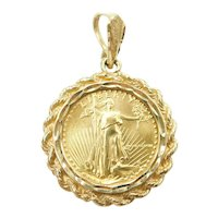 $5 1/10th Oz American Gold Eagle 1988 Coin Pendant 14k and Fine Gold