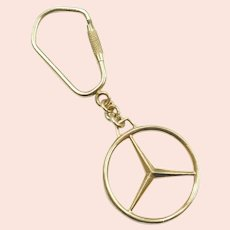 Mercedes Benz Emblem Key Ring / Key Chain 14k Gold