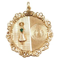 Big 14k Gold Maid of Honor Wedding Charm ~ Green Glass