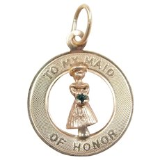 """Vintage 14k Gold """"To My Maid of Honor"""" Charm with Green Glass Accent"""