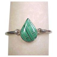Vintage Malachite Solid Bracelet 950 Silver