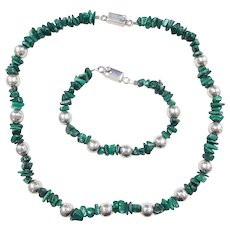 "Sterling Silver Malachite Chip and Silver Bead Necklace and Bracelet Set ~ 19"", 8 1/2"""