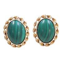 Vintage 14k Gold Malachite Stud Earrings