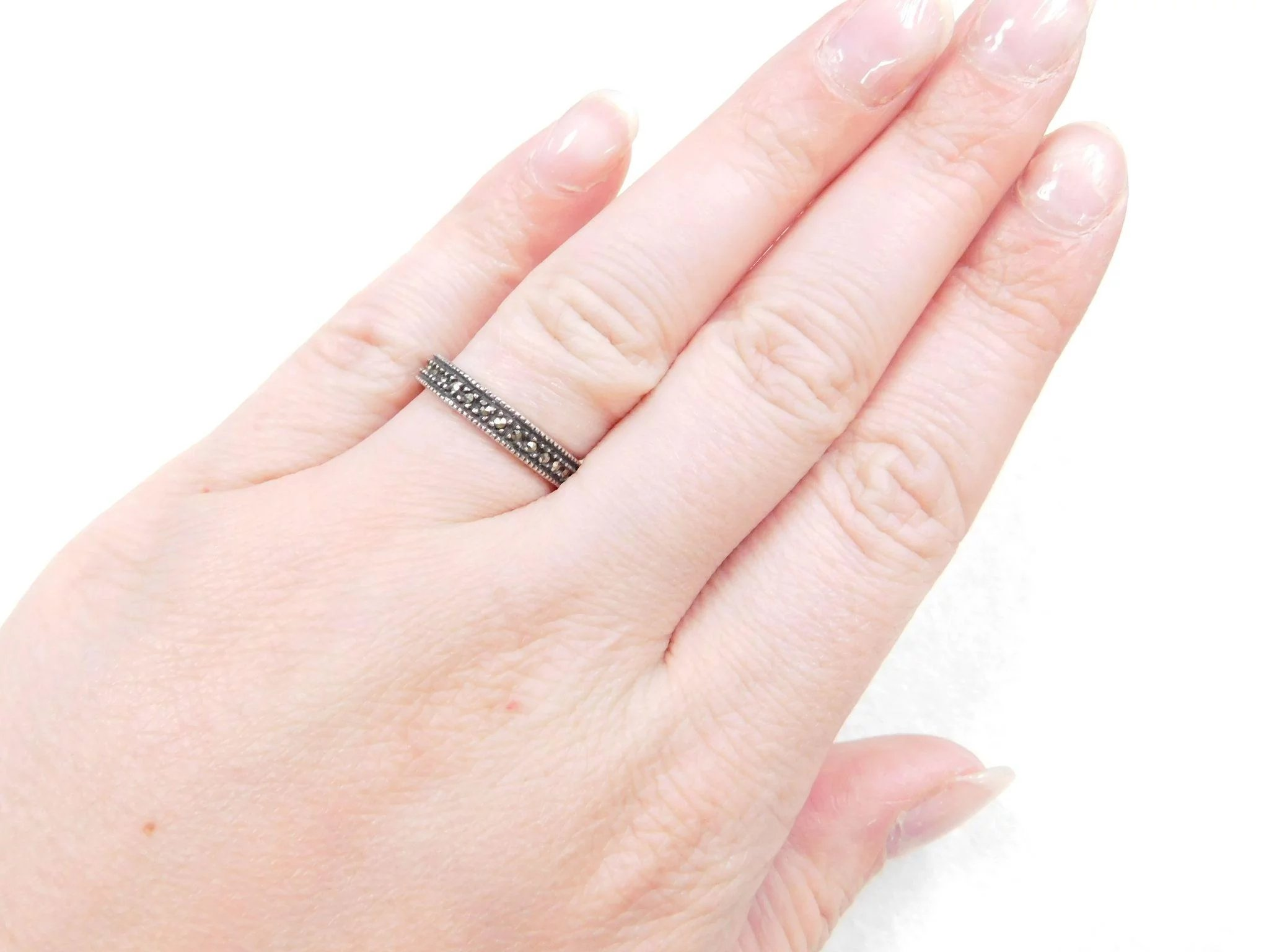 Sterling Silver Marcasite Band Ring : Arnold Jewelers | Ruby Lane